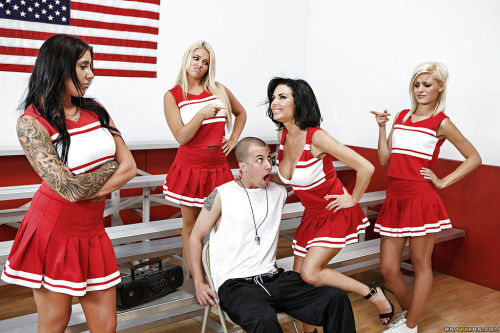 Ravishing mature cheerleader with round boobs gobbles and fucks a thick boner