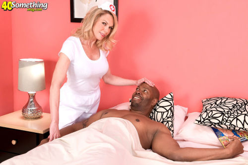 Hot older nurse Alexa Rae helps herself to some black cock at work